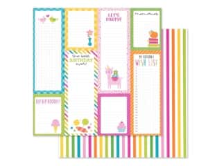 "Cardstock: Doodlebug Collection Hey Cupcake Paper 12""x 12"" Sundae Strips (25 pieces)"