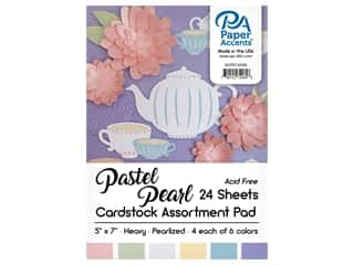 scrapbooking & paper crafts: Paper Accents 5 x 7 in. Cardstock Pad 24 pc. Pearlized Pastels