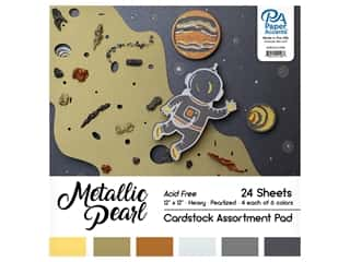 Paper Accents 12 x 12 in. Cardstock Pad 24 pc. Pearlized Metallics