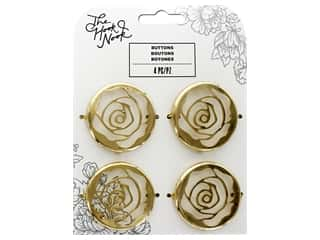"American Crafts The Hook Nook Decorative Buttons 2""x 2"" Gold 4pc"