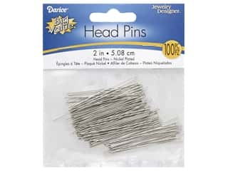 "beading & jewelry making supplies: Darice Head Pin 2"" Nickel 100pc"