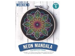 projects & kits: Leisure Arts Mini Maker Embroidery Project 6 in. Neon Mandala