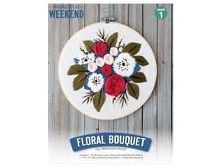 projects & kits: Leisure Arts Kit Make In A Weekend Embroidery 8 in. Floral Bouquet