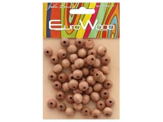 John Bead Wood Bead Euro Wood Round 10mm Light Brown