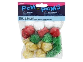 Darice Pom Poms 1 in. Christmas Tinsel Multi 24pc.