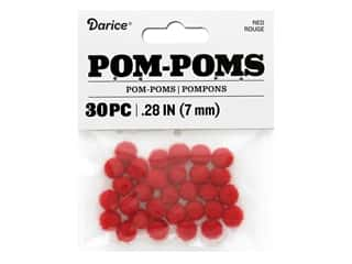 craft & hobbies: Darice Pom Poms 9/32 in. (7 mm) Red 30 pc.