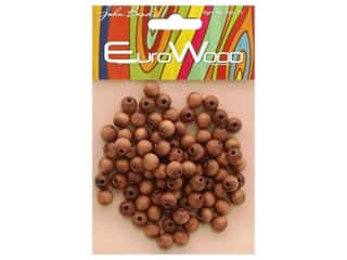 John Bead Wood Bead Round 8mm Light Brown