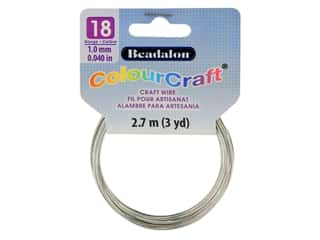 Beadalon ColourCraft Tarnish Resistant Copper Wire 18ga Silver 3yd