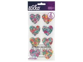scrapbooking & paper crafts: EK Sticko Stickers Floral Hearts Sparkle Foil