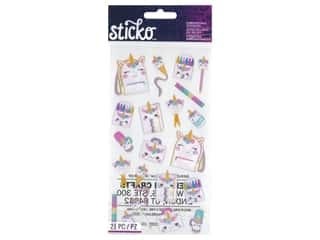 scrapbooking & paper crafts: Sticko Stickers - Unicorn School Supplies