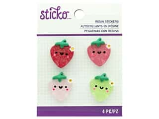 EK Sticko Stickers Resin Large Painted Strawberry