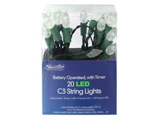 Sierra Pacific Crafts Lights LED C3 String 6.3' White & Green 20ct