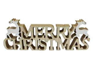"craft & hobbies: Sierra Pacific Crafts Wood Merry Christmas With Reindeers 16"" White & Brown"