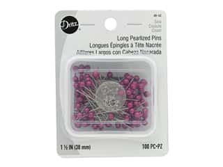 Dritz Long Pearlized Pins 1 1/2 in. 100 pc. Fuschia