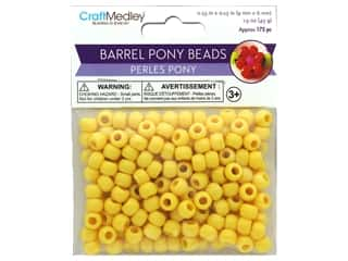 beading & jewelry making supplies: Multicraft Bead Pony 9mm x 6mm Barrel Yellow 1.5oz
