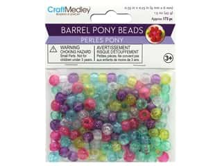 beading & jewelry making supplies: Multicraft Bead Pony 9mm x 6mm Barrel Sparkle Multi Mix 1.5oz