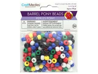 beading & jewelry making supplies: Multicraft Bead Pony 9mm x 6mm Barrel Opaque Multi Mix 1.5oz