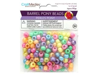 beading & jewelry making supplies: Multicraft Bead Pony 9mm x 6mm Barrel Pearlized Multi Mix 1.5oz