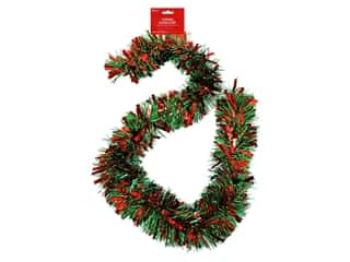 novelties: Darice Garland Tinsel 6ft Mega Red & Green