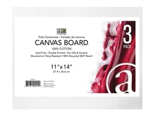 "craft & hobbies: Art Advantage Canvas Board Recycled MDF 11""x 14"" 3pc"