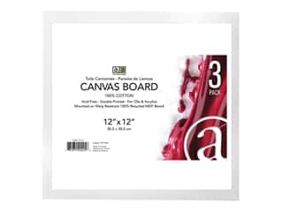 "craft & hobbies: Art Advantage Canvas Board Recycled MDF 12""x 12"" 3pc"