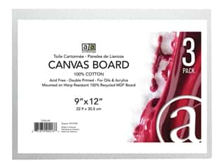 craft & hobbies: Art Advantage Canvas Board Recycled MDF 9 in. x 12 in.  3 pc