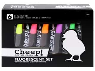 craft & hobbies: Cheep! Acrylic Paint Set 2.5oz Fluorescent 6 Color