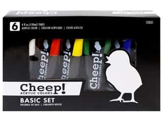 craft & hobbies: Cheep! Acrylic Paint Set 4 oz Basic 6 Color
