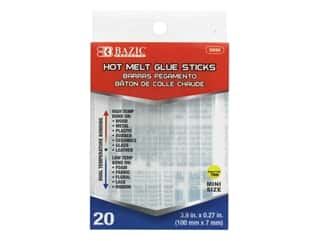glues, adhesives & tapes: Bazic Glue Sticks Mini Hot Melt Dual Temperature 20pc