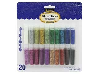 craft & hobbies: Bazic Glitter Tubes Fine 2gm Assorted Color 20pc