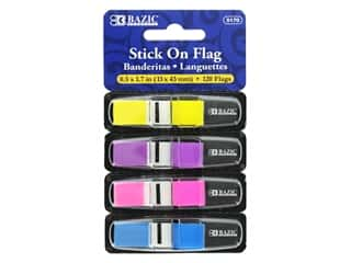 "Bazic Stick On Flag 1/2"" Neon Assorted 4pc"