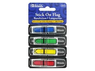 "Bazic Stick On Flag Arrow 1/2"" Primary Assorted 4pc"
