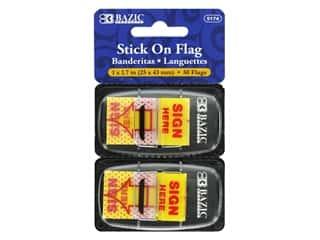 "Bazic Stick On Flag Sign Here 1"" Yellow 2pc"