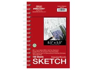 craft & hobbies: Pro Art Sketch Paper Pad 65 lb 8.5 in. x 5.5 in. Wire Bound 100 pc
