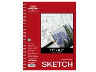 craft & hobbies: Pro Art Sketch Paper Pad 65 lb 11 in. x 8.5 in. Wire Bound 100 pc