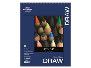 "craft & hobbies: Pro Art Drawing Paper Pad 11""x 14"" 80lb Wire Bound 25pc"