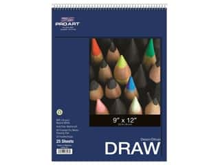 craft & hobbies: Pro Art Drawing Paper Pad 9 in. x 12 in. 80 lb 25 pc Wire Bound