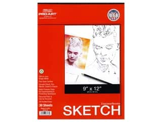 craft & hobbies: Pro Art Sketch Paper Pad 50 lb 9 in. x 12 in. Tape Bound 30 pc