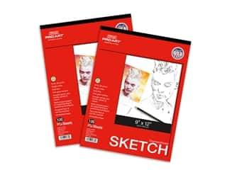 craft & hobbies: Pro Art Sketch Paper Pad 50 lb 9 in. x 12 in. Tape Bound 120 pc Twin Pack
