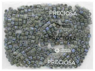 John Bead Czech Rola Bead 6.2mm Opaque Travertine On Blue