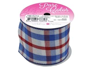 Morex Ribbon Wire Color Chic Plaid 2.5 in. x 3 yd Red/White/Blue