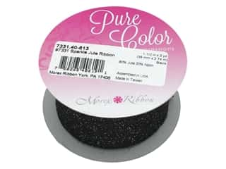"Morex Ribbon Sparkle Jute 1.5""x 3yd Black"