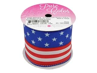 gifts & giftwrap: Morex Ribbon Wire Stars & Stripes 2.5 in. x 3 yd Red/White/Blue