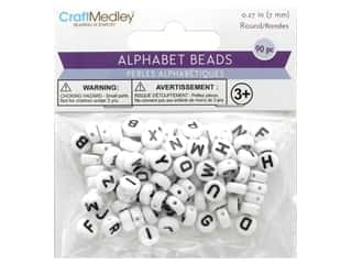 beading & jewelry making supplies: Multicraft Bead Alpha White With Black Letters 90pc