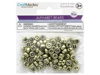 Multicraft Bead Alpha Metallic Gold With Black Letters 90pc