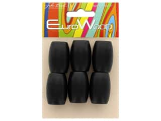 John Bead Wood Bead Euro Wood Oval Large Hole 22x33mm Black