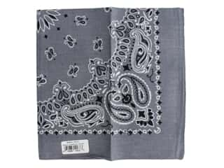 Carolina Creative Bandana 22 x 22 in. Paisley Charcoal