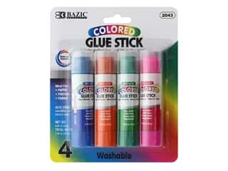 glues, adhesives & tapes: Bazic Basics Glue Sticks .28 oz. Colored 4 pc.
