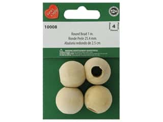 Lara's Wood Round Bead Large Hole 1 in. 4 pc.