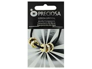 John Bead Preciosa Bead Large Hole Rondelle 10mm Gold/Crystal